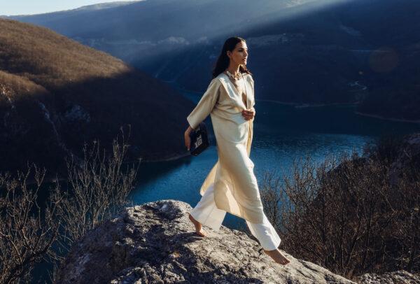 CaCO3 Raw Silk Kimono + ORIGIN Wooden Pouch by ZMIJANJE.design