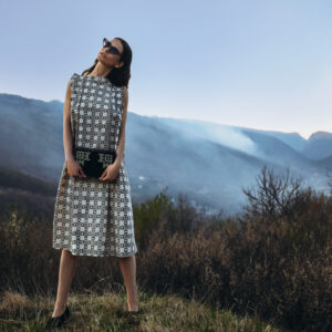 BUNAREVI Statement Dress + ORIGIN Wooden Pouch by ZMIJANJE.design
